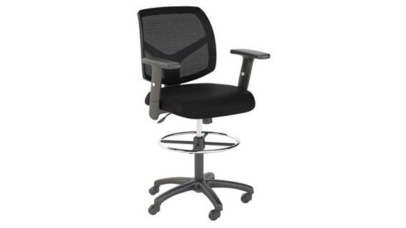 Office Chairs Bush Furnishings Mesh Back Drafting Chair with Chrome Foot Ring