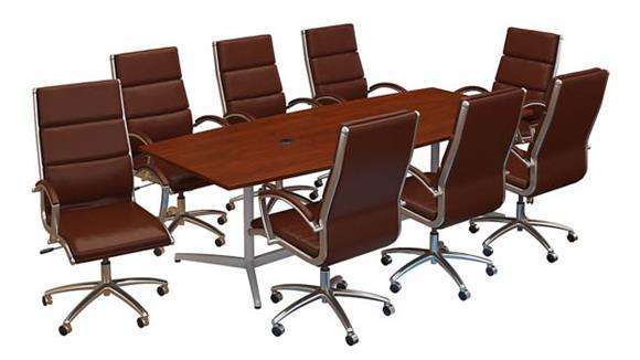 """Conference Table Sets Bush Furnishings 96""""W x 42""""D Boat Shaped Conference Table with Metal Base and Set of 8 High Back Office Chairs"""