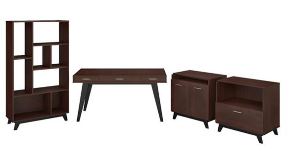 "Writing Desks Bush Furnishings 60""W x 30""D Writing Desk with Lateral File Cabinet, Bookcase and Accent Storage Cabinet"