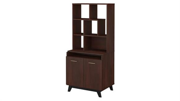 Bookcases Bush Furnishings 2 Door Accent Storage Cabinet with Bookcase Hutch
