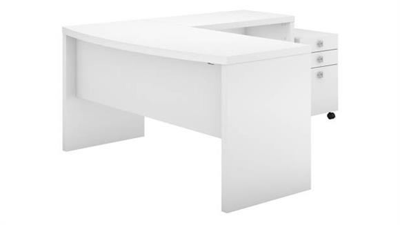 L Shaped Desks Bush Furnishings L-Shaped Bow Front Desk with Mobile File Cabinet