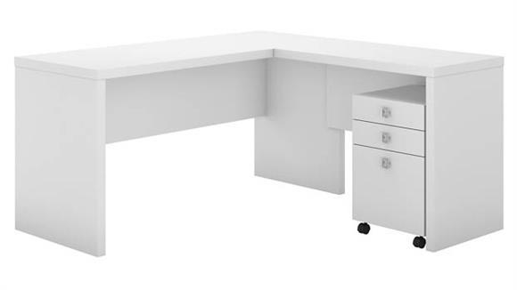 L Shaped Desks Bush Furnishings L-Shaped Desk with Mobile File Cabinet