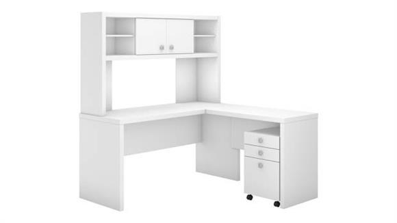 L Shaped Desks Bush Furnishings L-Shaped Desk with Hutch and Mobile File Cabinet