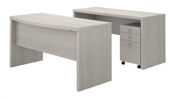 Office Credenzas Bush Furnishings Bow Front Desk and Credenza with Mobile File Cabinet