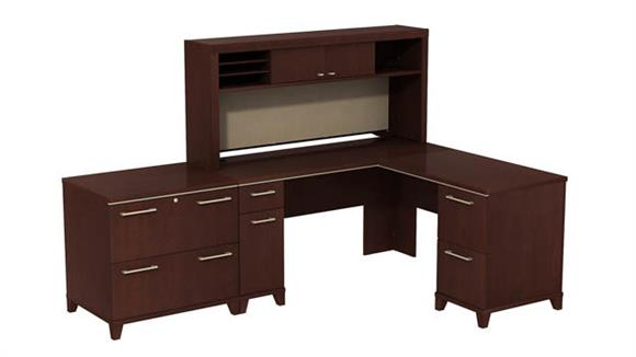 """L Shaped Desks Bush Furnishings 60""""W x 60""""D L-Desk with Hutch and Lateral File"""