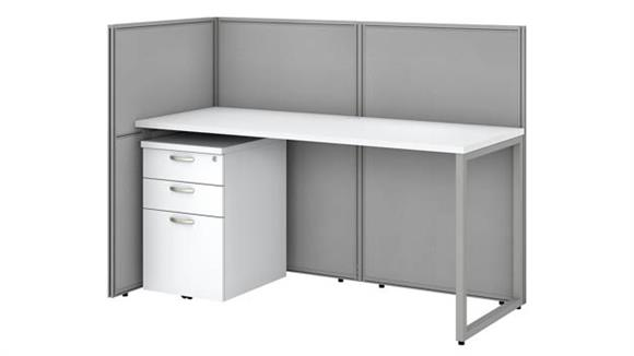 """Workstations & Cubicles Bush Furnishings 60""""W Straight Desk Open Office with 3 Drawer Mobile Pedestal and 45""""H Panels"""