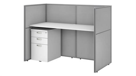 """Workstations & Cubicles Bush Furnishings 60""""W Straight Desk Closed Office with 45""""H Panels and 3 Drawer Mobile Pedestal"""