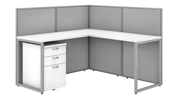 """Workstations & Cubicles Bush Furnishings 60""""W L-Shaped Open Cubicle Desk with 3 Drawer Mobile File Cabinet and 45""""H Panels"""