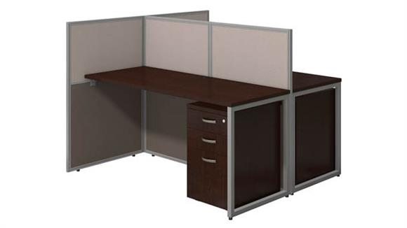 """Workstations & Cubicles Bush Furnishings 60""""W 2 Person Straight Desk Open Office with 3 Drawer Mobile Pedestals and 45""""H Panels"""