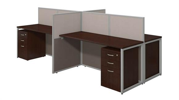 """Workstations & Cubicles Bush Furnishings 60""""W 4 Person Straight Desk Open Office with 3 Drawer Mobile Pedestals"""