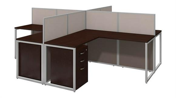 """Workstations & Cubicles Bush Furnishings 60""""W 4 Person L-Desk Open Office with 3 Drawer Mobile Pedestals and 45""""H Panels"""
