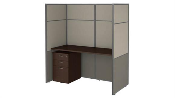 """Workstations & Cubicles Bush Furnishings 60""""W Cubicle Desk with File Cabinet and 66""""H Closed Panels Workstation"""