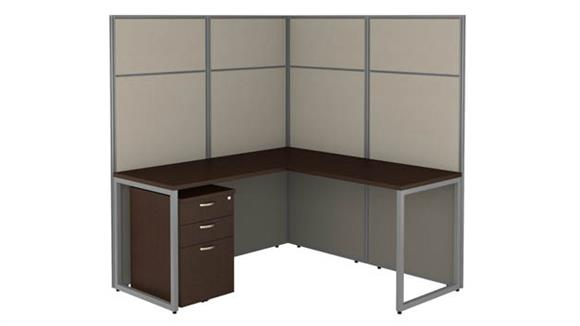 """Workstations & Cubicles Bush Furnishings 60""""W L Shaped Cubicle Desk with File Cabinet and 66""""H Panels"""