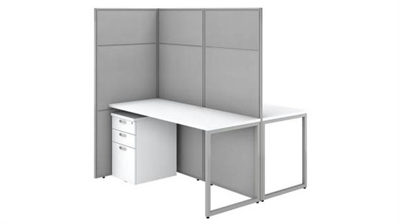 """Workstations & Cubicles Bush Furnishings 60""""W 2 Person Cubicle Desk with File Cabinets and 66""""H Panels"""