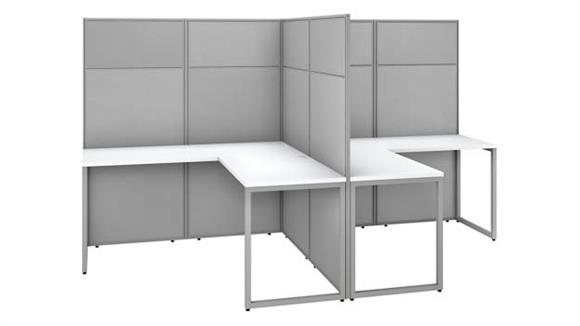 """Workstations & Cubicles Bush Furnishings 60""""W 2 Person L-Shaped Cubicle Desk Workstation with 66""""H Panels"""