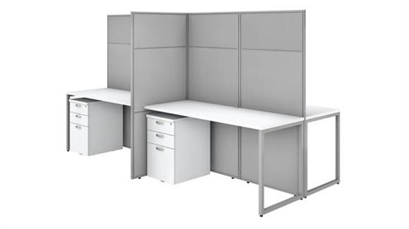 """Workstations & Cubicles Bush Furnishings 60""""W 4 Person Cubicle Desk with File Cabinets and 66""""H Panels"""