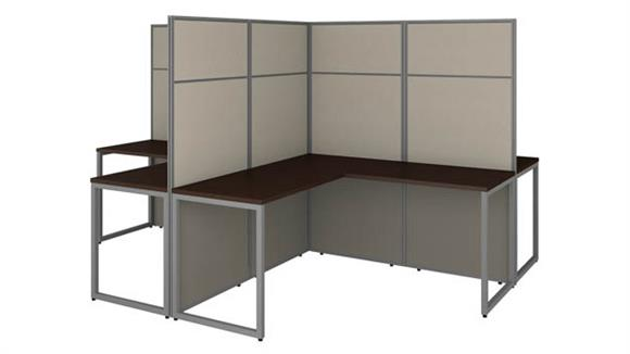 """Workstations & Cubicles Bush Furnishings 60""""W 4 Person L-Shaped Cubicle Desk Workstation with 66""""H Panels"""