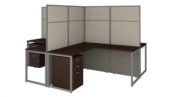 """Workstations & Cubicles Bush Furnishings 60""""W 4 Person L-Shaped Cubicle Desk with Drawers and 66""""H Panels"""