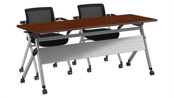 """Training Tables Bush Furnishings 72""""W x 24""""D Folding Training Table with Set of 2 Folding Chairs"""