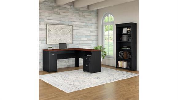 "L Shaped Desks Bush Furnishings 60""W L-Shaped Desk with 5 Shelf Bookcase"