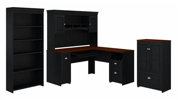 """L Shaped Desks Bush Furnishings 60""""W L-Shaped Desk with Hutch, Storage Cabinet with Drawer and 5 Shelf Bookcase"""