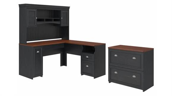 """L Shaped Desks Bush Furnishings 60""""W L-Shaped Desk with Hutch and Lateral File Cabinet"""