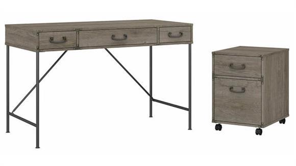 "Writing Desks Bush Furnishings 48""W Writing Desk and 2 Drawer Mobile File Cabinet"