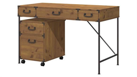 "Writing Desks Bush Furnishings 48""W Writing Desk and 2 Drawer Mobile File Cabinet"