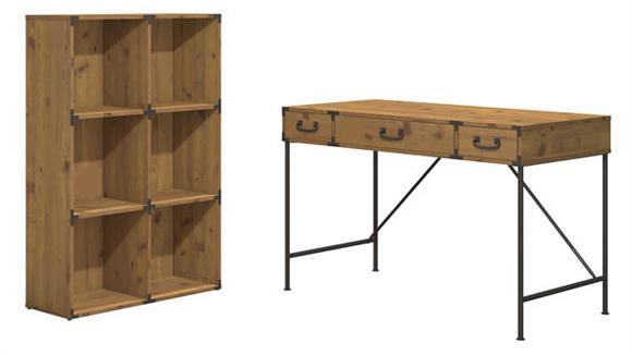 "Writing Desks Bush Furnishings 48""W Writing Desk and 6 Cube Bookcase"