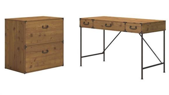 "Writing Desks Bush Furnishings 48""W Writing Desk and Lateral File Cabinet"