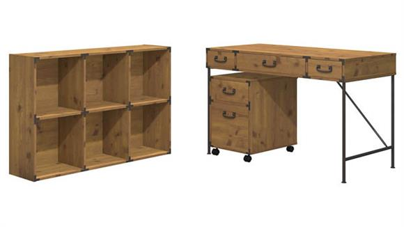 "Writing Desks Bush Furnishings 48""W Writing Desk, 2 Drawer Mobile File Cabinet, and 6 Cube Bookcase"