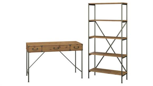 "Writing Desks Bush Furnishings 48""W Writing Desk with Drawers and 5 Shelf Etagere Bookcase"