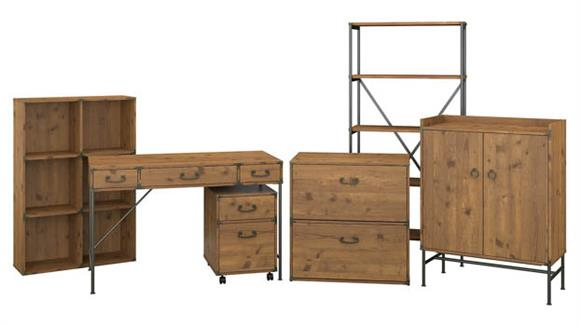 """Writing Desks Bush Furnishings 48""""W Writing Desk with File Cabinets, Bookcases and Storage"""