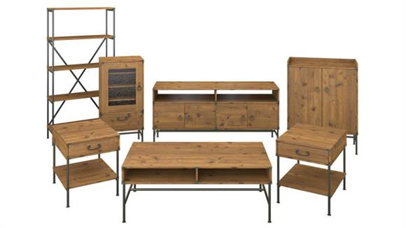 TV Stands Bush Furnishings TV Stand with Audio Cabinet, Storage and Living Room Table Set