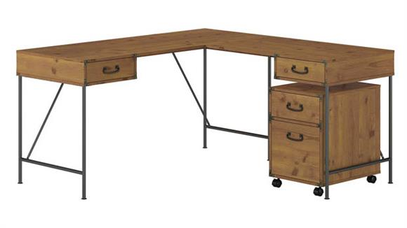 "L Shaped Desks Bush Furnishings 60""W L-Shaped Writing Desk with 2 Drawer Mobile File Cabinet"