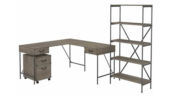 """L Shaped Desks Bush Furnishings 60""""W L-Shaped Writing Desk with Mobile File Cabinet and 5 Shelf Bookcase"""