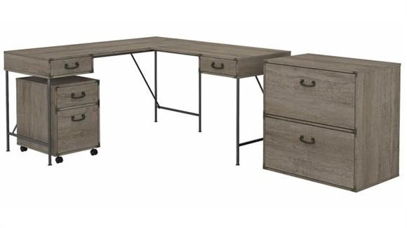 """L Shaped Desks Bush Furnishings 60""""W L-Shaped Writing Desk with Lateral and Mobile File Cabinets"""