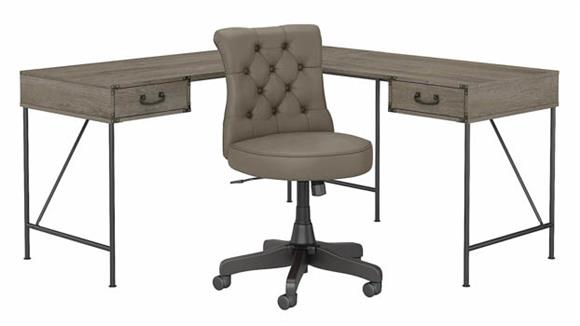 """L Shaped Desks Bush Furnishings 60""""W L-Shaped Writing Desk with Mid Back Tufted Leather Office Chair"""
