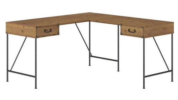 "L Shaped Desks Bush Furnishings 60""W L-Shaped Writing Desk with Drawers"