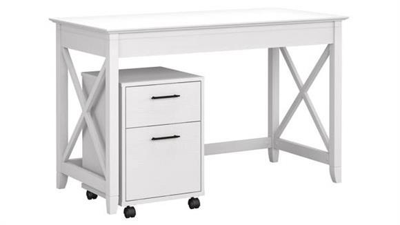 "Writing Desks Bush Furnishings 48"" W Writing Desk with 2 Drawer Mobile File Cabinet"