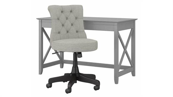 """Writing Desks Bush Furnishings 48"""" W Writing Desk with Mid Back Tufted Office Chair"""