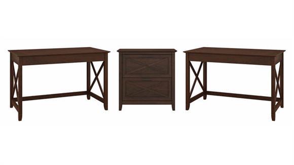 Computer Desks Bush Furnishings 2 Person Desk Set with Lateral File Cabinet