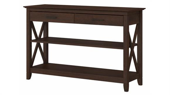 Console Tables Bush Furnishings Console Table with Drawers and Shelves