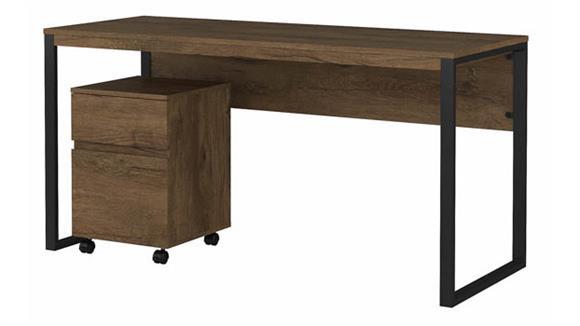 "Writing Desks Bush Furnishings 60""W Writing Desk with 2 Drawer Mobile File Cabinet"