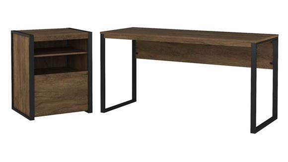 "Writing Desks Bush Furnishings 60""W Writing Desk with Printer Stand File Cabinet"