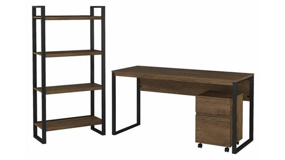 """Writing Desks Bush Furnishings 60""""W Writing Desk with Mobile File Cabinet and Etagere Bookcase"""