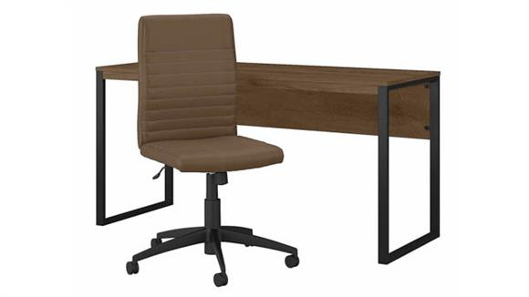 """Writing Desks Bush Furnishings 60"""" W Writing Desk with Mid Back Ribbed Leather Office Chair"""