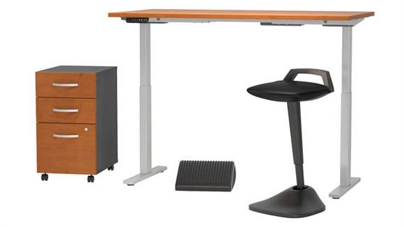 """Adjustable Height Desks & Tables Bush Furnishings 60""""W x 30""""D Adjustable Standing Desk with Lean Stool, Storage and Ergonomic Accessories"""