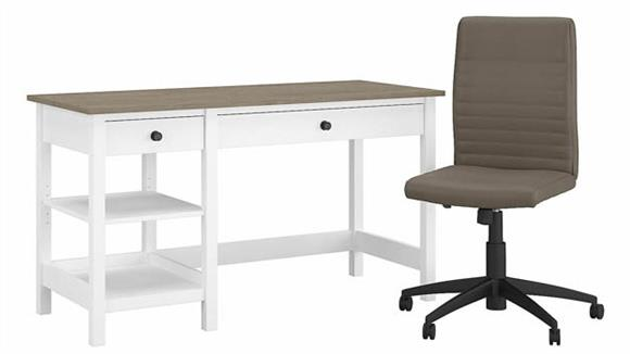 """Computer Desks Bush Furnishings 54"""" W Computer Desk with Shelves and Mid Back Ribbed Leather Office Chair"""