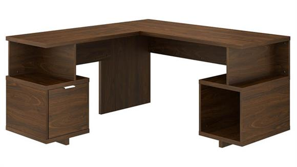 """L Shaped Desks Bush Furnishings 60""""W L-Shaped Desk with Drawer and Storage Cubby"""